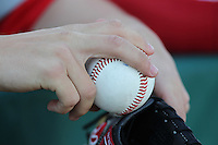 Illinois State Redbirds player holding a baseball before a game against the South Florida Bulls at the USF Baseball Complex on March 14, 2012 in Tampa, Florida.  South Florida defeated Illinois State 10-5.  (Mike Janes/Four Seam Images)