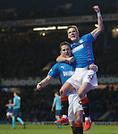 Dean Shiels celebrates his second goal with Rangers team-mate Jon Daly