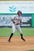 Kurt Hoekstra (25) of the Danville Braves takes his lead off of second base against the Burlington Royals at Burlington Athletic Park on July 12, 2015 in Burlington, North Carolina.  The Royals defeated the Braves 9-3. (Brian Westerholt/Four Seam Images)