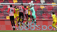 Barnsley goalkeeper, Brad Collins, makes a fine save to foil a Brentford attack during Brentford vs Barnsley, Sky Bet EFL Championship Football at the Brentford Community Stadium on 14th February 2021