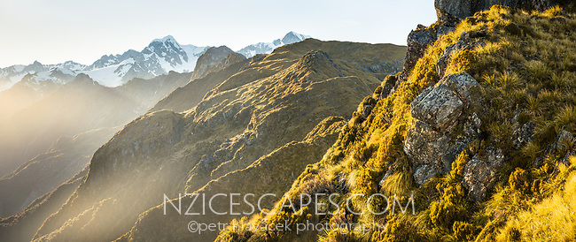 Morning views of Southern Alps with Mount Tasman and Aoraki, Mount Cook from Mt. Fox with fog clearing, Westland Tai Poutini National Park, West Coast, UNESCO World Heritage Area, New Zealand, NZ
