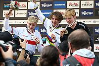 29th August 2021; Commezzadura, Trentino, Italy; 2021 Mountain Bike Cycling World Championships, Val di Sole; Downhill;  Downhill final junior mens, Junior Men, Jackson GOLDSTONE  CAN, Jordan WILLIAMS GBR, Lachlan STEVENS-MCNAB NZL shows their medals,