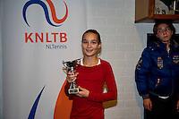 November 30, 2014, Almere, Tennis, Winter Youth Circuit, WJC,  Prizegiving, Jasmijn Gimbère girls 14 years 5th place<br /> Photo: Henk Koster