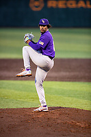 LSU Tigers starting pitcher Jaden Hill (0) delivers a pitch to the plate against the Tennessee Volunteers on Robert M. Lindsay Field at Lindsey Nelson Stadium on March 27, 2021, in Knoxville, Tennessee. (Danny Parker/Four Seam Images)