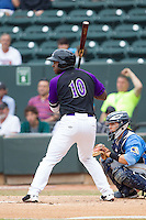 Courtney Hawkins (10) of the Winston-Salem Dash at bat against the Myrtle Beach Pelicans at BB&T Ballpark on May 7, 2014 in Winston-Salem, North Carolina.  The Pelicans defeated the Dash 5-4 in 11 innings.  (Brian Westerholt/Four Seam Images)
