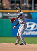 23 June 2019: Trenton Thunder second baseman Hoy Jun Park in action against the New Hampshire Fisher Cats at Northeast Delta Dental Stadium in Manchester, NH. The Thunder defeated the Fisher Cats 5-2 in Eastern League play. Mandatory Credit: Ed Wolfstein Photo *** RAW (NEF) Image File Available ***