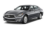 2015 Infiniti Q70 3.7 L 4 Door Sedan Angular Front stock photos of front three quarter view