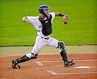 5 September 2008: Vermont Lake Monsters' catcher Chris Solis in action against the Oneonta Tigers at Centennial Field in Burlington, Vermont. The Lake Monsters fell to the Tigers 10-4. Mandatory Photo Credit: Ed Wolfstein Photo