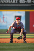 A.J. Vukovich (19) of the Visalia Rawhide in the field during a game against the Rancho Cucamonga Quakes at LoanMart Field on June 17, 2021 in Rancho Cucamonga, California. (Larry Goren/Four Seam Images)