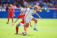 Houston, TX - April 9, 2017: The U.S. Women's national team go up 3-0 over Russia in an international friendly match at BBVA Compass Stadium.