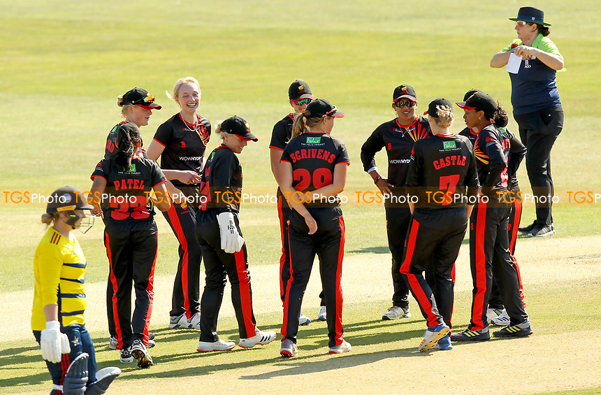 Sunrisers celebrate taking the wicket of Kirstie White during Sunrisers vs South East Stars, Rachael Heyhoe Flint Trophy Cricket at The Cloudfm County Ground on 13th September 2020