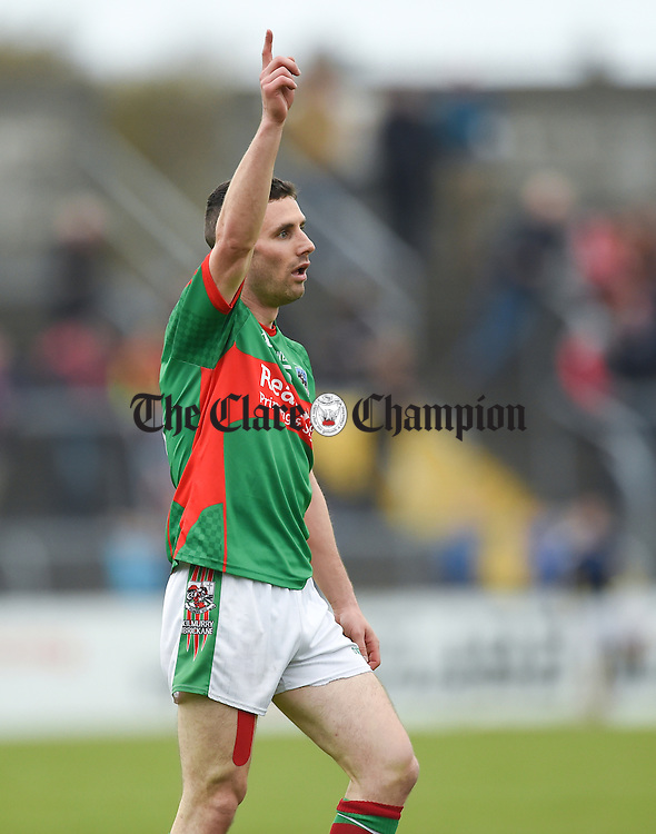 Shane Hickey of  Kilmurry Ibrickane celebrates a point against Cratloe during their senior football final replay at Cusack park. Photograph by John Kelly.