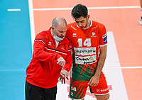 English head coach Joel Banks of Maaseik pictured in talks with Iranian Javad Karimisouchelmaei of Maaseik during a Volleyball game between Knack Volley Roeselare and Greenyard Maaseik , the third game in a best of five in the play offs in the 2020-2021 season , saturday 10 th April 2020 at the Schiervelde international Sportshall in Roeselare  , Belgium  .  PHOTO SPORTPIX.BE   DAVID CATRY
