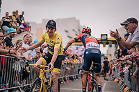 yellow jersey / GC leader Geraint Thomas (GBR/SKY) coming back from sign-on<br /> <br /> Stage 21: Houilles > Paris / Champs-Élysées (115km)<br /> <br /> 105th Tour de France 2018<br /> ©kramon