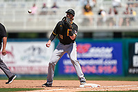 Pittsburgh Pirates Colin Moran (19) waits for a throw during a Major League Spring Training game against the Minnesota Twins on March 16, 2021 at Hammond Stadium in Fort Myers, Florida.  (Mike Janes/Four Seam Images)
