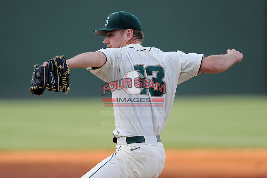 Starting pitcher Justin Alleman (13) of the Michigan State Spartans pitched eight scoreless innings in a game against the Harvard Crimson on Saturday, March 15, 2014, at Fluor Field at the West End in Greenville, South Carolina. Michigan State won, 4-0 and Alleman got the win. (Tom Priddy/Four Seam Images)