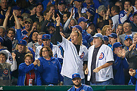 Chicago Cubs fans cheering in the first inning during Game 4 of the Major League Baseball World Series against the Cleveland Indians on October 29, 2016 at Wrigley Field in Chicago, Illinois.  (Mike Janes/Four Seam Images)