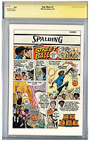 BNPS.co.uk (01202) 558833<br /> Pic: NateDSanders/BNPS<br /> <br /> The back of the comic features an advert Spalding basketballs<br /> <br /> A rare Star Wars comic signed by six stars of the first film has emerged for sale for £11,000. ($15,000)<br /> <br /> The first issue of the 1977 comic has been autographed by Mark Hamill, Harrison Ford, Carrie Fisher, Peter Mayhew, Anthony Daniels and Kenny Baker.<br /> <br /> It was produced by Marvel on the back of the huge success of Star Wars and carries an image of Luke Skywalker wielding a lightsabre.<br /> <br /> The signatures were acquired by a private collector many years ago who is now selling the comic with US-based auctioneers Nate D Sanders.