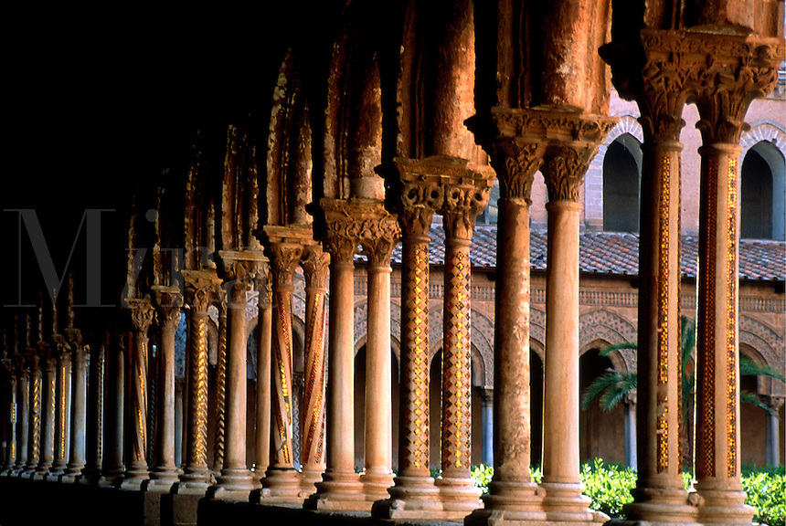 Detail of columns in the courtyard of the Cloisters in Monreale, Sicily