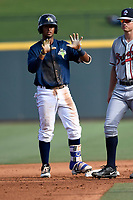 Second baseman Luis Carpio (18) of the Columbia Fireflies signals for time out in a game against the Rome Braves on Sunday, July 2, 2017, at Spirit Communications Park in Columbia, South Carolina. Columbia won, 3-2. (Tom Priddy/Four Seam Images)