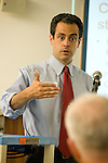 Matt Dunne, Democratic candidate for governor Speaks with voters during a recent campaign stop at the Brooks Memorial Library in Brattleboro Vermont