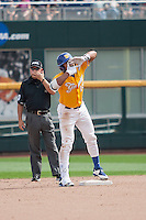 UC Santa Barbara Gauchos outfielder Devon Bradford (15) celebrates after hitting a double against the Miami Hurricanes in Game 5 of the NCAA College World Series on June 20, 2016 at TD Ameritrade Park in Omaha, Nebraska. UC Santa Barbara defeated Miami  5-3. (Andrew Woolley/Four Seam Images)