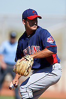 Cleveland Indians minor league pitcher Jacob Lee #37 during an instructional league game against the Cincinnati Reds at the Goodyear Training Complex on October 8, 2012 in Goodyear, Arizona.  (Mike Janes/Four Seam Images)