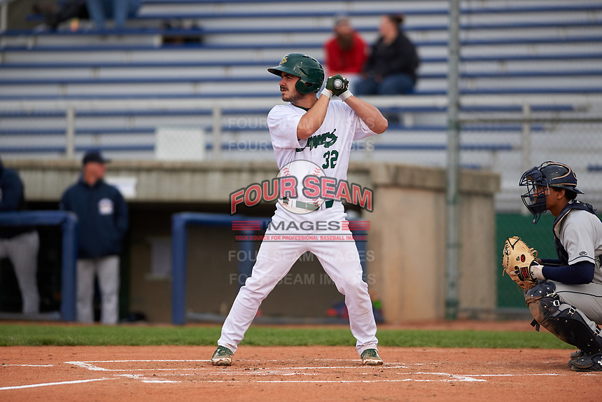 Beloit Snappers catcher John Jones (32) during a Midwest League game against the Lake County Captains at Pohlman Field on May 6, 2019 in Beloit, Wisconsin. Lake County defeated Beloit 9-1. (Zachary Lucy/Four Seam Images)