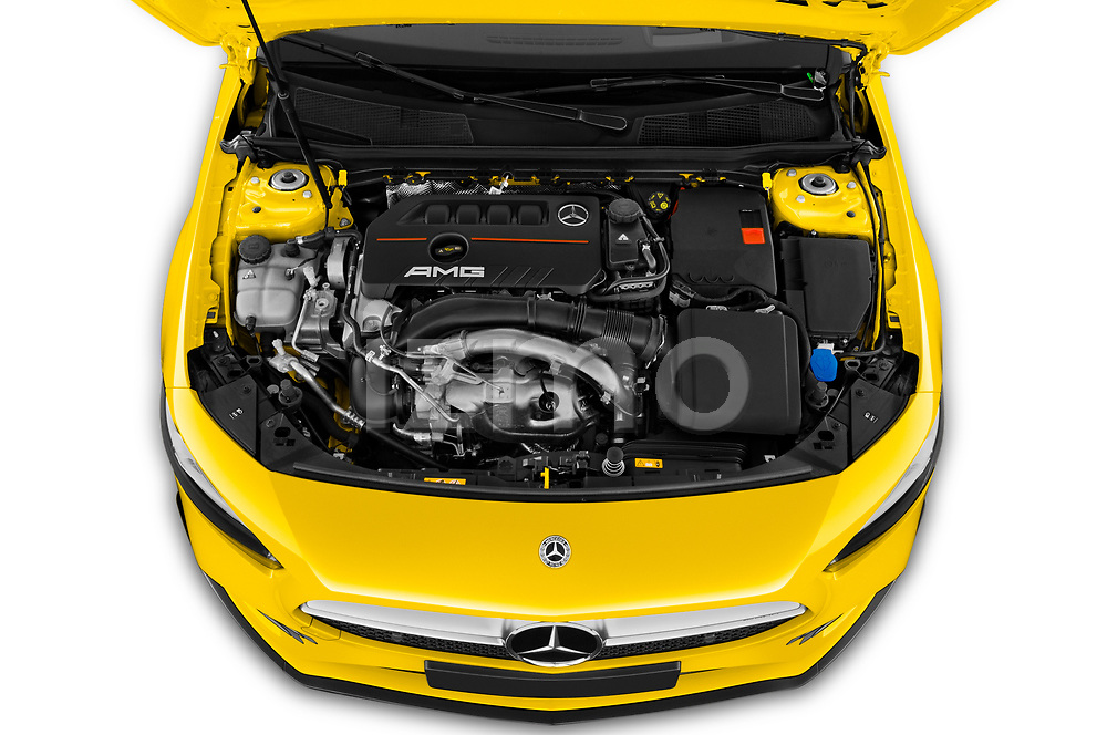 Car Stock 2019 Mercedes Benz A-Class - 5 Door Hatchback Engine  high angle detail view