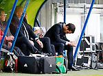 Nederland, Heerenveen, 21 mei 2015<br /> Seizoen 2014-2015<br /> SC Heerenveen-Feyenoord<br /> Giovanni van Bronckhorst bij zijn debuut als trainer van Feyenoord. Hij baalt van het doelpunt van SC Heerenveen en buigt zijn hoofd in de dug-out
