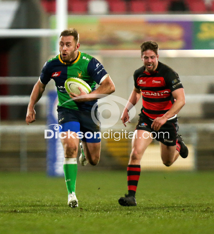 Friday 6th March 2020 | Armagh RFC vs Ballynahinch RFC<br /> <br /> Ross Adair races clear during the Bank Of Ireland Ulster Senior Cup Final between the City of Armagh RFC and Ballynahinch RFC at Kingspan Stadium, Ravenhill Park, Belfast, Northern Ireland. Photo by John Dickson / DICKSONDIGITAL