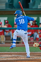 Andy Pages (18) of the Ogden Raptors at bat against the Orem Owlz at Lindquist Field on September 3, 2019 in Ogden, Utah. The Raptors defeated the Owlz 12-0. (Stephen Smith/Four Seam Images)
