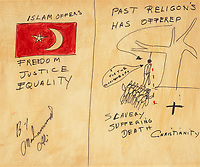 BNPS.co.uk (01202) 558833.<br /> Pic: Bonhams/BNPS<br /> <br /> Pictured: Ali's, 'The Two Religions' sold for £18,000<br /> <br /> Packs a punch..<br /> <br /> Incredibly rare art work by Muhammad Ali has sold for almost £700,000 ($945,000) following a bidding war.<br /> <br /> The legendary heavyweight boxer was a passionate artist and produced a series of works documenting key milestones in his life.<br /> <br /> They proved a knock-out success with collectors, with some examples going for up to 10 times their pre-sale estimate.