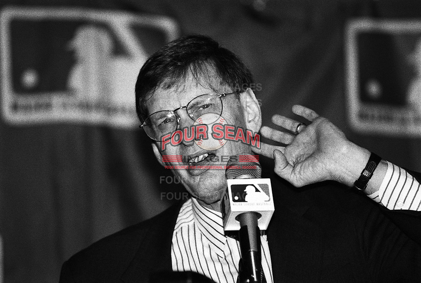 Major League Baseball Commissioner Bud Selig at The Biltmore Hotel in Los Angeles,California during the 1996 Owners Meetings. (Larry Goren/Four Seam Images)