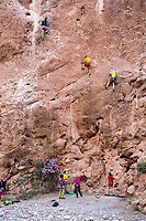 Todra Gorge, Morocco.  Rock Climbers Honing their Skill.