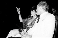Montreal (QC) Canada- - August 2, 1984 File Photo - Premiere of LOUISIANE, Margot Kidder, actress  (L), Pierre Trudeau (R) Prime Miinister, Canada