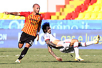 Pasquale Schiattarella of SC Benevento and Roberto Soriano of Bologna FC compete for the ball<br /> during the Serie A football match between SC Benevento and Bologna FC at stadio Ciro Vigorito in Benevento (Italy), October 04th, 2020. <br /> Photo Cesare Purini / Insidefoto