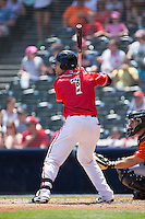 Mac Williamson (7) of the Richmond Flying Squirrels at bat against the Bowie Baysox at The Diamond on May 24, 2015 in Richmond, Virginia.  The Flying Squirrels defeated the Baysox 5-2.  (Brian Westerholt/Four Seam Images)
