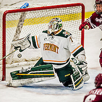 15 November 2015: University of Vermont Catamount Goaltender Mike Santaguida, a Junior from Mississauga, Ontario, gives up a third period goal to the University of Massachusetts Minutemen at Gutterson Fieldhouse in Burlington, Vermont. The Minutemen rallied from a three goal deficit to tie the game 3-3 in their Hockey East matchup. Mandatory Credit: Ed Wolfstein Photo *** RAW (NEF) Image File Available ***