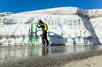 Still huge amounts of snow at the start of ski ascent of Fibbia, Gotthard massif, Switzerland, June 2017.