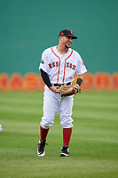 Salem Red Sox center fielder Chris Madera (3) warms up before the first game of a doubleheader against the Potomac Nationals on June 11, 2018 at Haley Toyota Field in Salem, Virginia.  Potomac defeated Salem 9-4.  (Mike Janes/Four Seam Images)