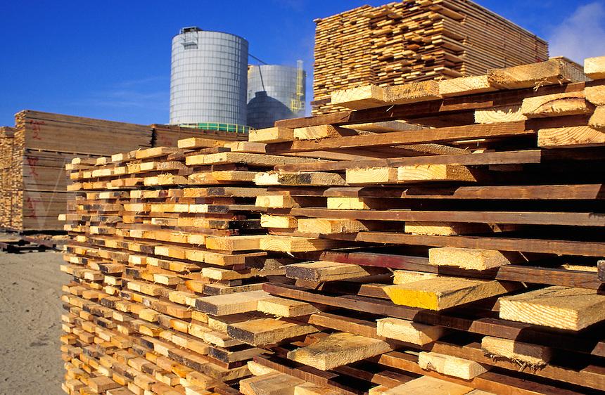 Air drying lumber stacks at mill, Yreka, California