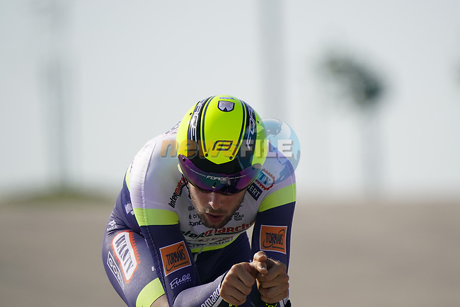 Riccardo Minali (ITA) Intermarche-Wanty-Gobert Materiaux during Stage 2 of the 2021 UAE Tour an individual time trial running 13km around  Al Hudayriyat Island, Abu Dhabi, UAE. 22nd February 2021.  <br /> Picture: Eoin Clarke | Cyclefile<br /> <br /> All photos usage must carry mandatory copyright credit (© Cyclefile | Eoin Clarke)