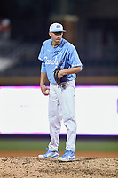North Carolina Tar Heels relief pitcher Bo Weiss (37) looks to his catcher for the sign against the Charlotte 49ers at BB&T BallPark on March 27, 2018 in Charlotte, North Carolina. The Tar Heels defeated the 49ers 14-2. (Brian Westerholt/Four Seam Images)