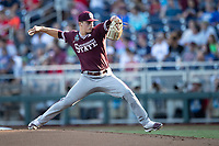 Mississippi State Bulldogs pitcher JT Ginn (3) delivers a pitch to the plate during Game 10 of the NCAA College World Series against the Louisville Cardinals on June 20, 2019 at TD Ameritrade Park in Omaha, Nebraska. Louisville defeated Mississippi State 4-3. (Andrew Woolley/Four Seam Images)