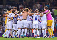August 10, 2012..Korean team celebrate victory over Japan at the conclusion of bronze medal match at the Millennium Stadium on day fourteen in Cardiff, England. Korea defeat Japan 2-0 to win Olympic bronze medal in men's soccer. ..