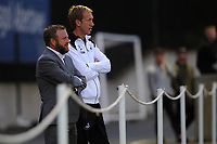 Monday 20th August 2018<br /> Pictured: Swansea City's Manager Graham Potter (right) and Assistant manager Billy Reid (right) <br /> Re: Swansea City U23 v Derby County U23 Premier League 2 match at the Landore Training facility, Swansea, Wales, UK