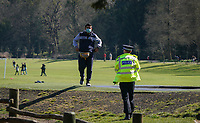 The public continue to leave homes & ignore Government guidelines as the weekend weather remains warm, Police ask the people to move along during the Covid-19 Pandemic in which the Government have given strict rules on only leaving the home for essential work, food shopping and one form of exercise per day.<br /> The Rye Park in High Wycombe, Bucks on 5 April 2020. Photo by Andy Rowland.