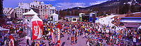 Skiers and Tourists at the Base of Whistler Mountain, Whistler Ski Resort, BC, British Columbia, Canada - Panoramic View