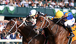 October 19, 2019: #8 Wayne O and jockey Tyler Gaffalione (outside) win the 7th race maiden $71,000 over #7 Gold Street and Ricardo Santana Jr. at Keeneland Racecourse in Lexington, KY on October 19, 2019.  Candice Chavez/ESW/CSM